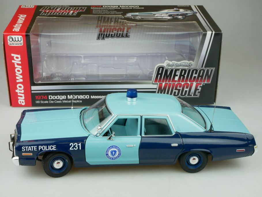 Ertl 1/18 1974 Dodge Monaco Massachussetts St. Police American Muscle Box 113117