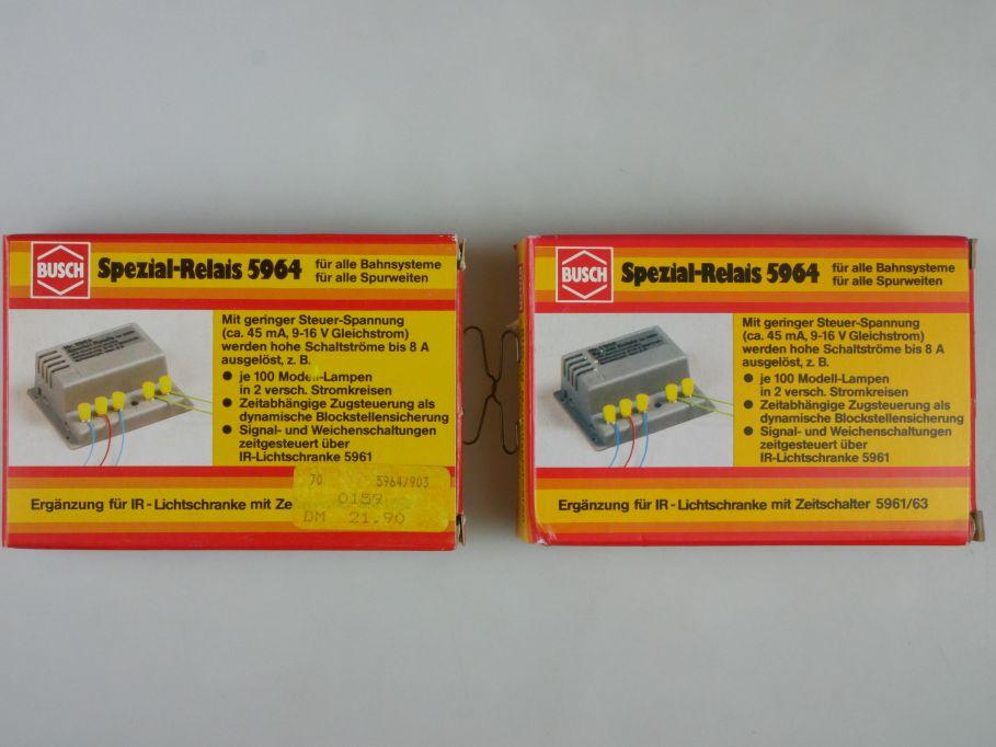 2x Busch 5964 Spezial Relais für alle Spurweiten und Bahnsysteme OVP Box 113256