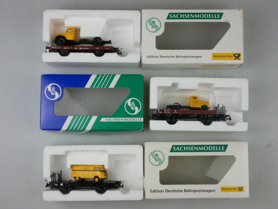 Sachsenmodelle H0 Flachwagen Xf 09 Magirus VW T1a Opel Blitz Bahnpost Box 113278