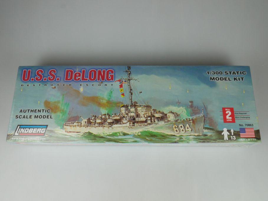 Lindberg 1/300 USS DeLong Destroyer Escort ship 70863 Kit Box 114601