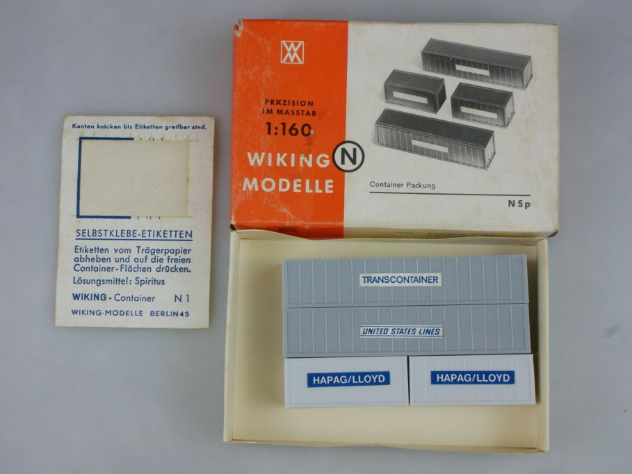 Wiking 1/160 N 5p 4 Container Packung + Box 114557