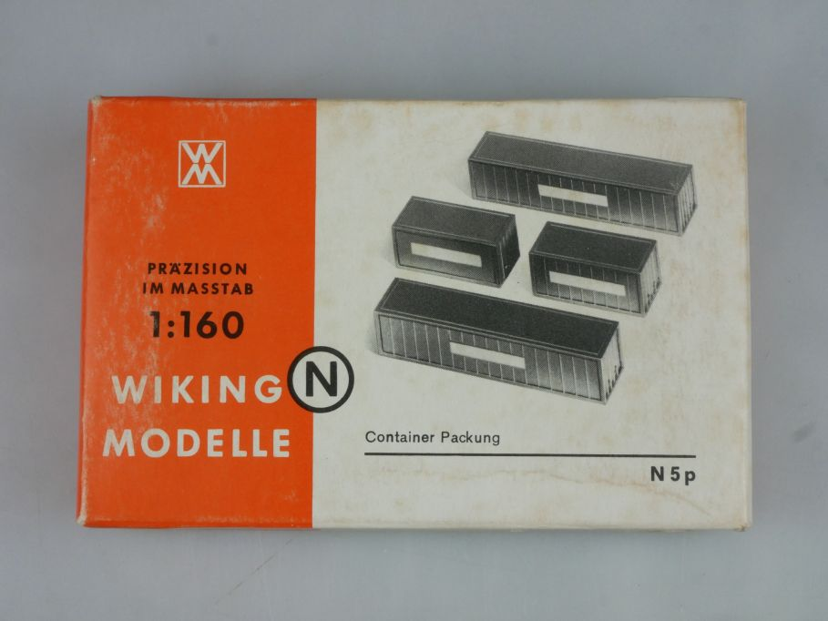 Wiking 1/160 N 5p 4 Container Packung + Box 114558