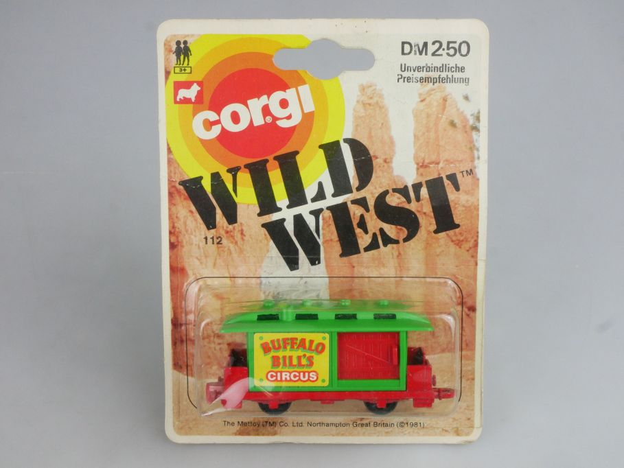 Corgi 112 Wild West Buffalo Bills Circus Wagen 1981 Mettoy + Blisterkarte 114654