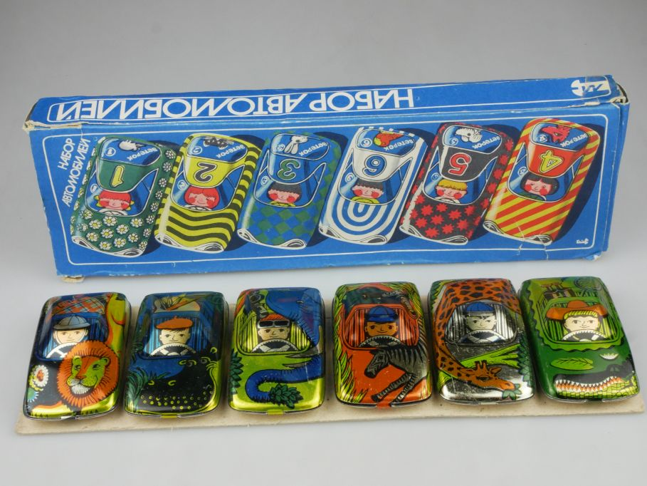 CCCP USSR 6x Blech vintage 70s tin toy cars 8,3cm + Box 114813