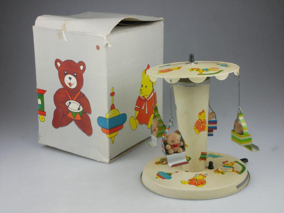 Blech Karussell vintage soviet tin toy Teddy bear carousel DDR USSR Box 114819