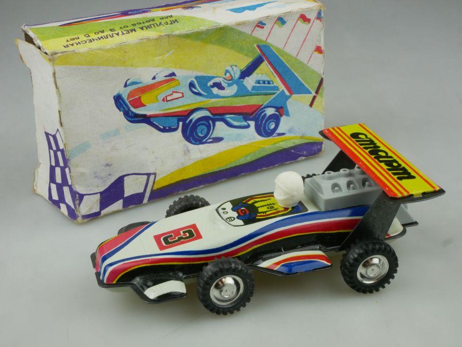 CCCP USSR Blech Rennwagen #3 soviet cmapm tin toy race car + Box 114822