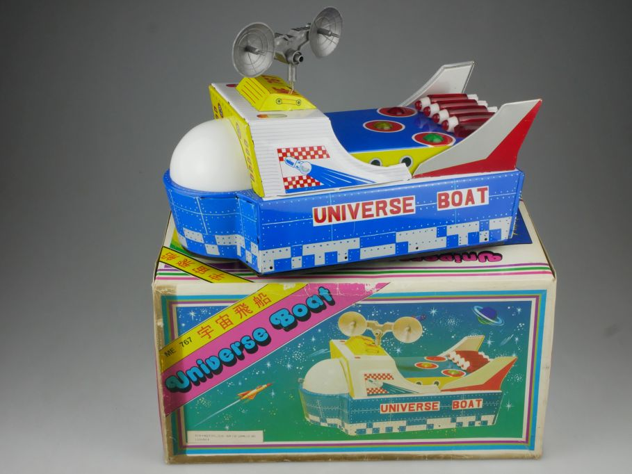 Blech Spielzeug Universe Boat Gyro Action bump n go 70/80er tin toy Box 114846