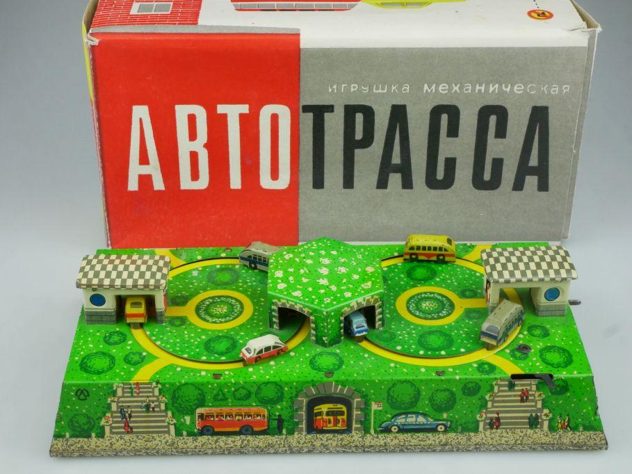 CCCP USSR Blech Spielzeug Pkw Bus car Federwerk soviet tin toy DDR + Box 114851