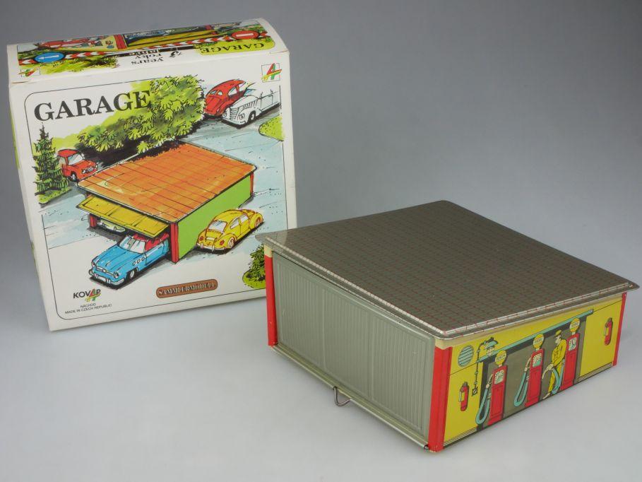 Kovap CSSR Blech Garage DDR 13,5cm x 13,5cm tin toy Garaz DDR + Box 114852
