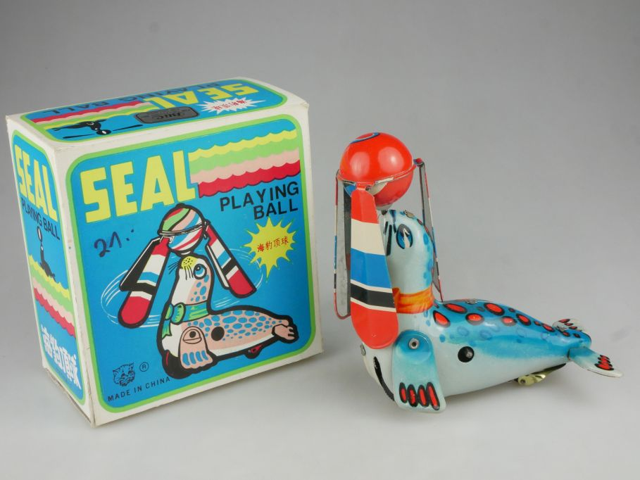 SEAL Playing Ball Robbe mit Ball Blechspielzeug tin toy windup + Box 114988