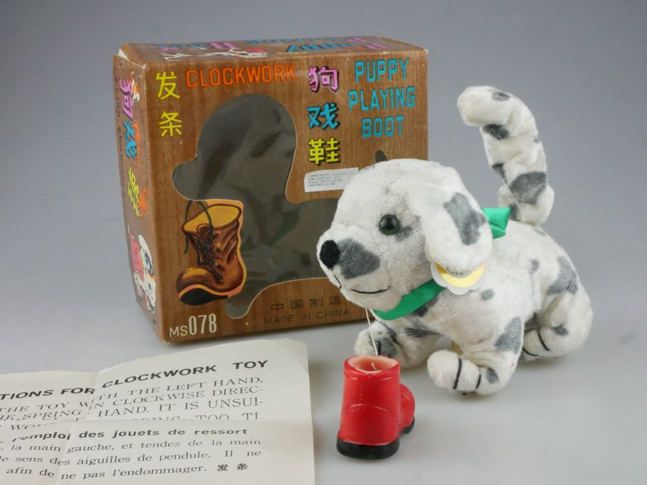 MS 078 1990´s Clockwork toy Puppy Playing Boot Dog Spielzeug Hund + Box 115194