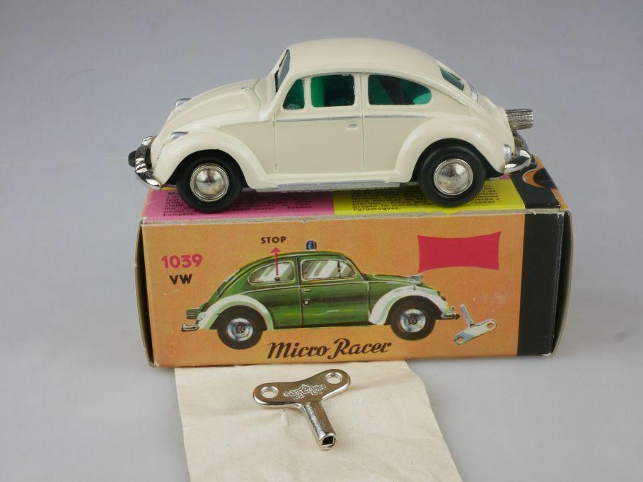 Schuco Nutz 1046 1039 Micro Racer Uhrwerk VW Käfer weiß Volkswagen + Box 115199