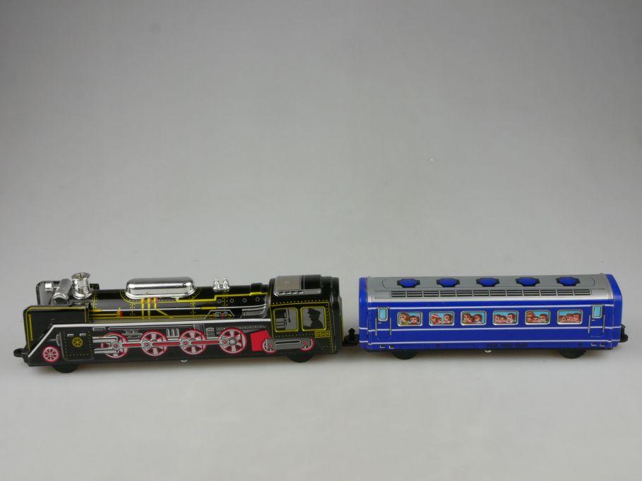 ICHIKO Japan Blech Spielzeug Dampflok D5101 Lok u. Wagen Friktion tin toy 115307
