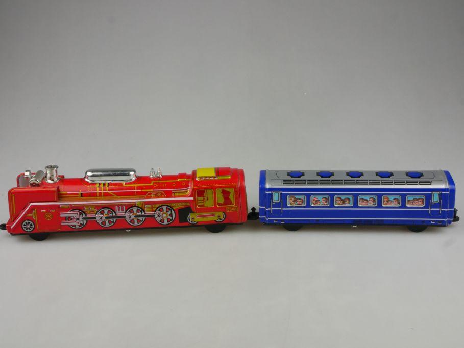 ICHIKO Japan Blech Spielzeug Dampflok D5101 Lok u. Wagen Friktion tin toy 115308