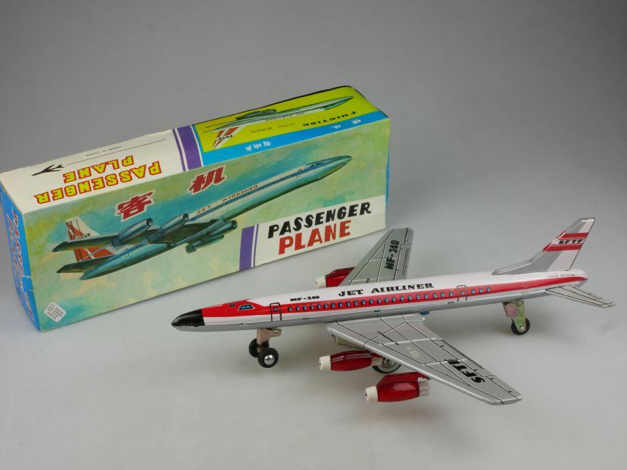 MF 240 Red China Blech tin Passenger Plane Jet Airliner Flugzeug Box 115311