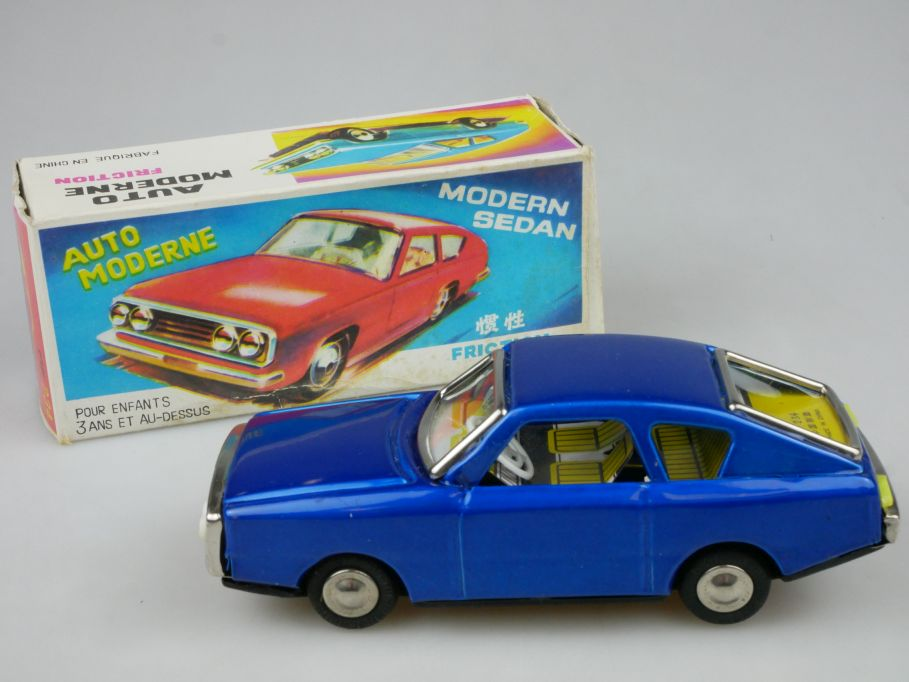 Red China MF 234 Blech Auto Moderne Friction Sedan vintage tin toy + Box 115316