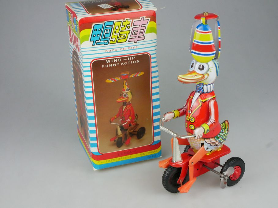 vintage Duck on Bike wind up Blech tin Spielzeug Beijing No 1 Toy + Box 115324