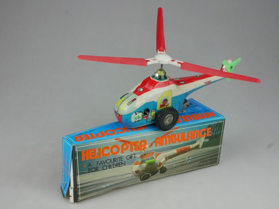 MF 957 Blech Helicopter Ambulance tin toy 17cm Hubschrauber Red China Box 115326