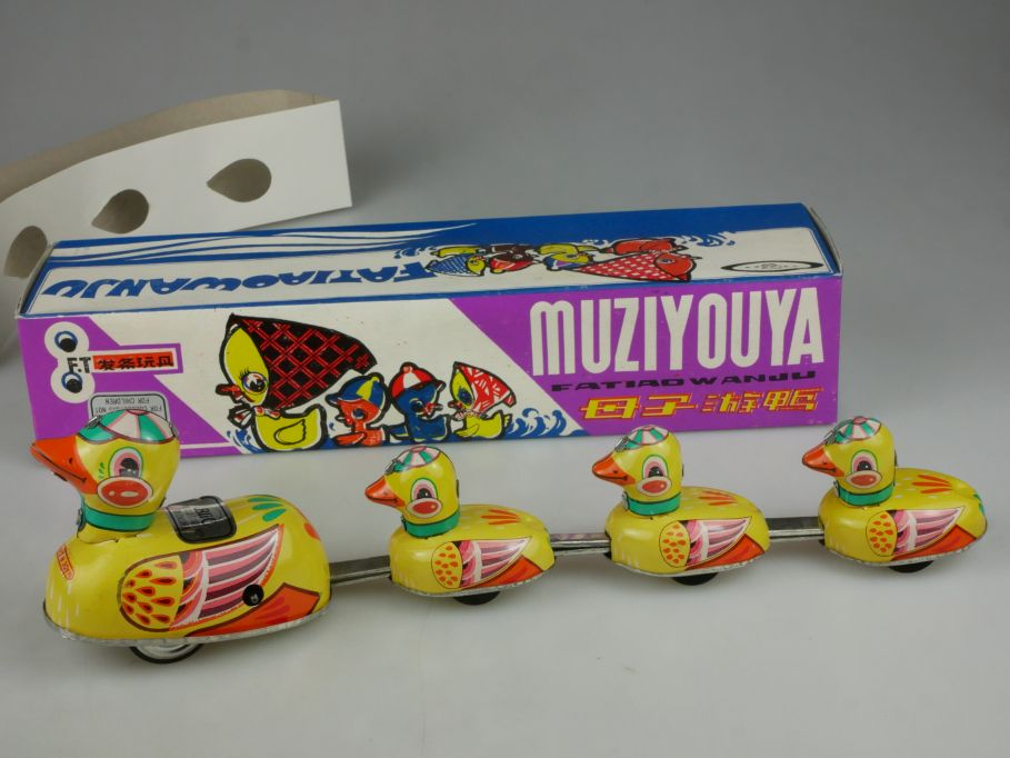 Vintage Blech Enten FATIAOWANJU Muziyouya Duck wind up Tin Toy Blic + Box 115329