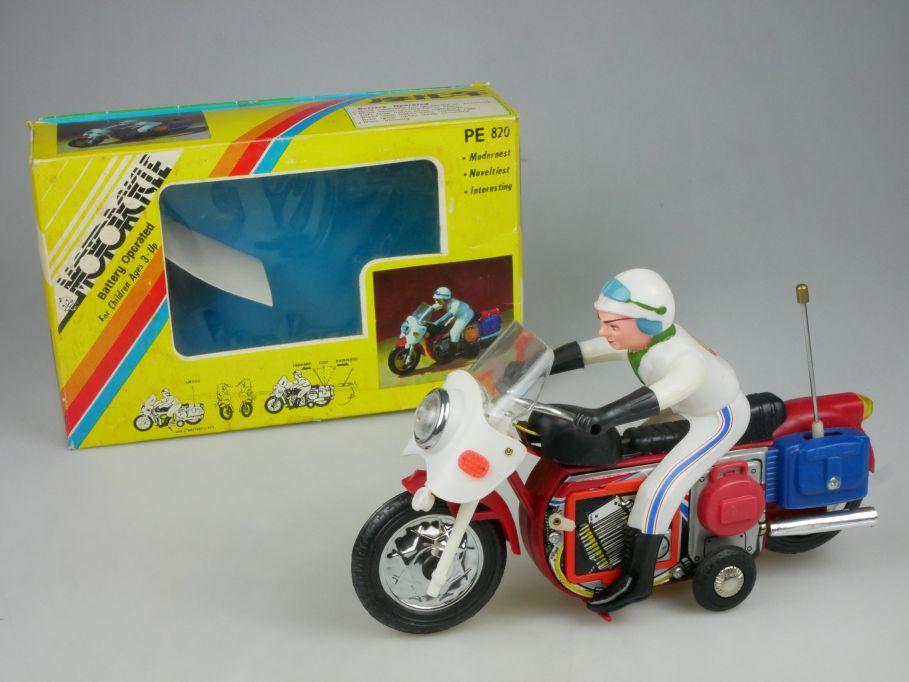 Vintage PE 820 Motorcycle tin plastic toy China Blech 25cm Motorrad + Box 115335