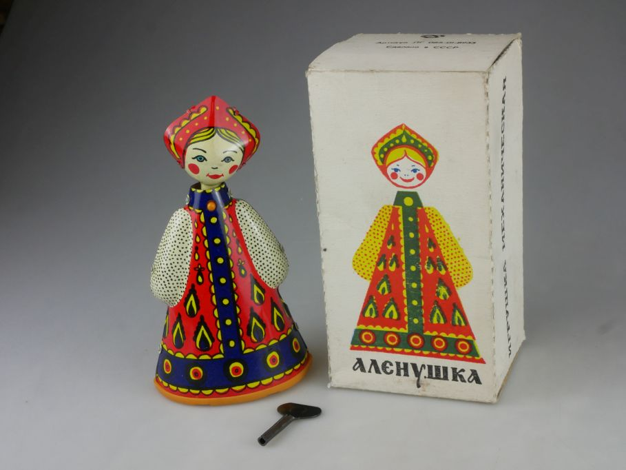 vintage CCCP USSR Blech tin toy doll 16cm Matrjoschka wind-up soviet Box 115422