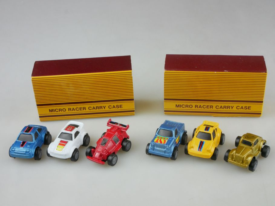 2x 1980´s Micro Racer Carry Case á 3 Autos pullback cars soma galoob Box 115451