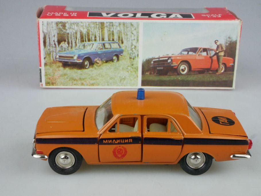 CCCP USSR 1/43 Volga Gaz 24 GAI Wolga Miliz Police Novoexport + Box 116030