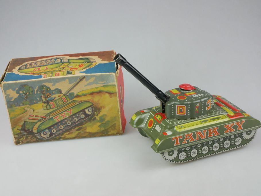 Konrad Dressler KD 1005 Blech Panzer w. germny litho tin toy tank + Box 116155