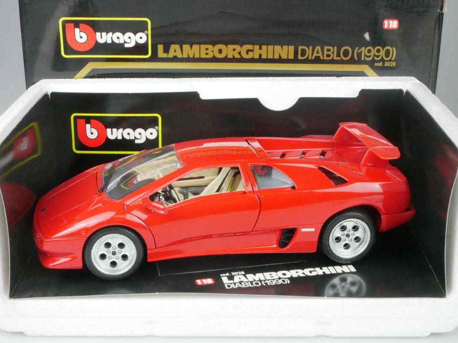 Bburago 1/18 Lamborghini DIABLO 1990 diecast metal cod. 3028 Burago + Box 116267