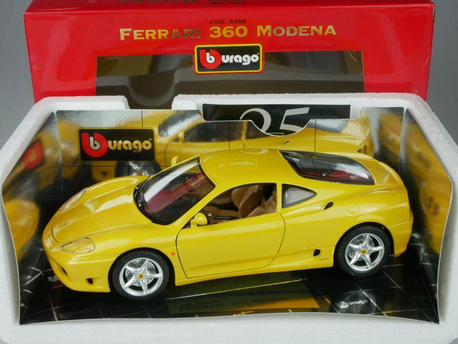Bburago 1/18 Ferrari 360 Modena gelb cod. 3368 Burago + Box 116269