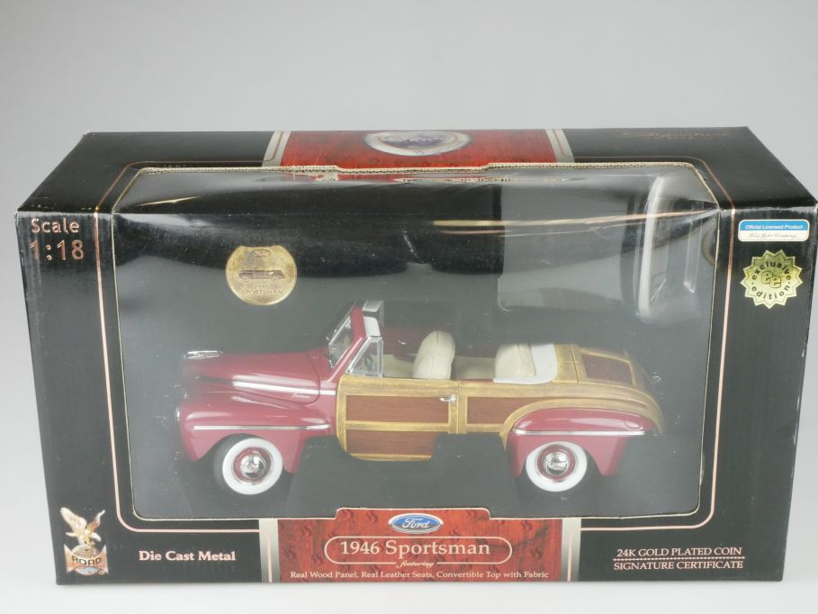 Road Signature 1/18 1946 Sportsman real wood leathers seats cabrio + Box 116529