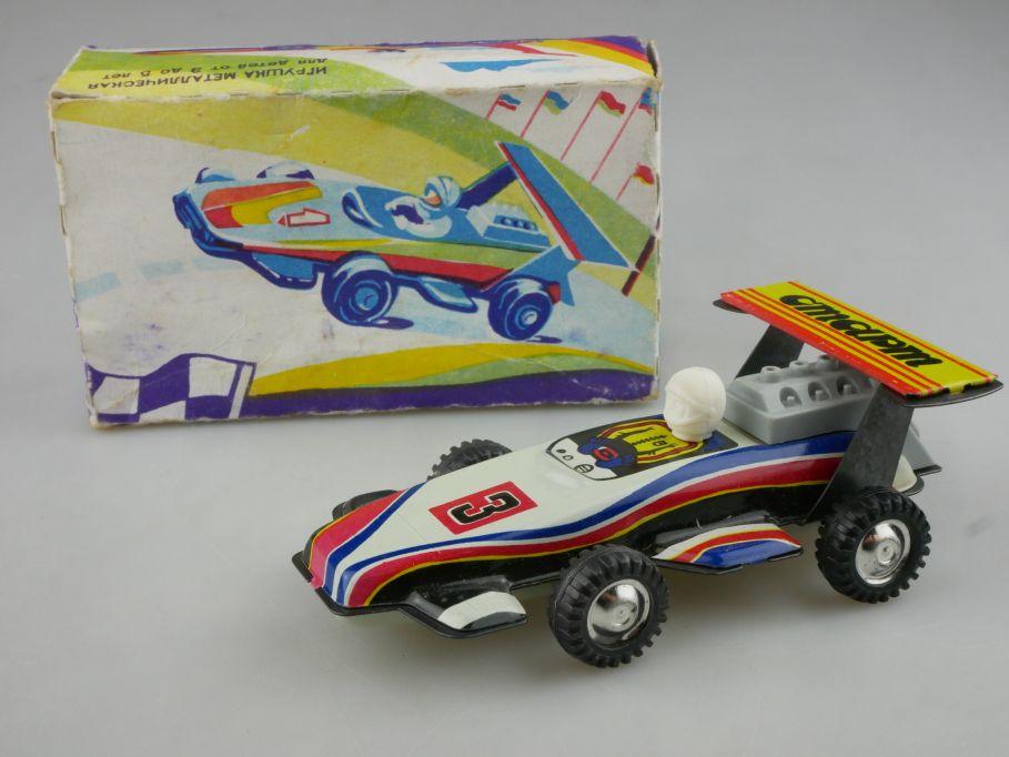 CCCP USSR Blech Rennwagen #3 soviet cmapm tin toy race car + Box 116570