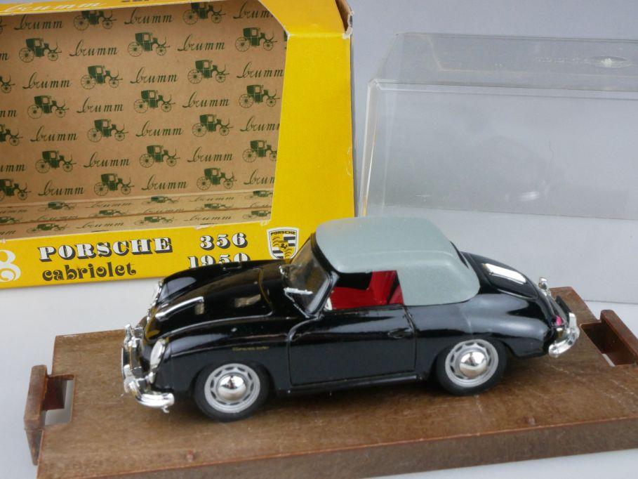 Brumm r118 1/43 Porsche 356 Cabriolet 1950 schwarz grau Modell + Box 116945