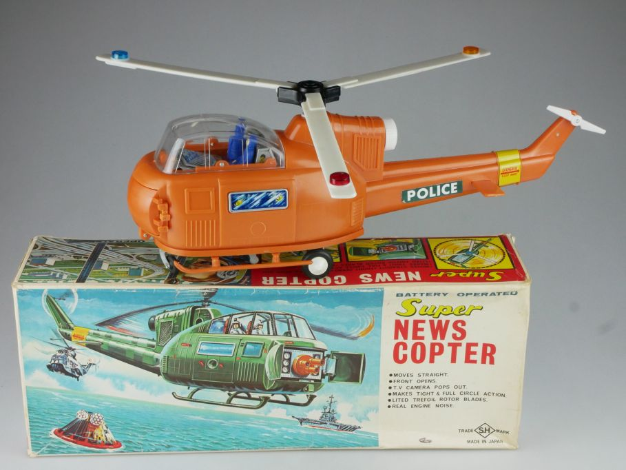 Vintage SH Japan toy Super NEWS COPTER battery op. Hubschrauber + Box 117446