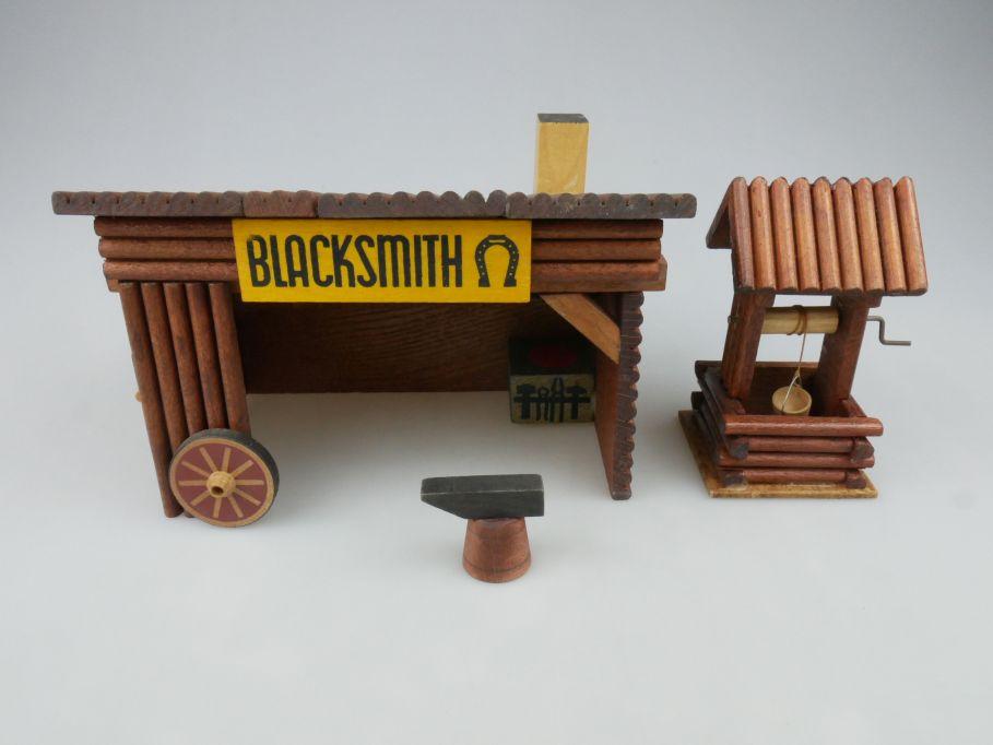 Wild West Western Holz Haus OEHME & Söhne Blacksmith Amboss Brunnen 117611