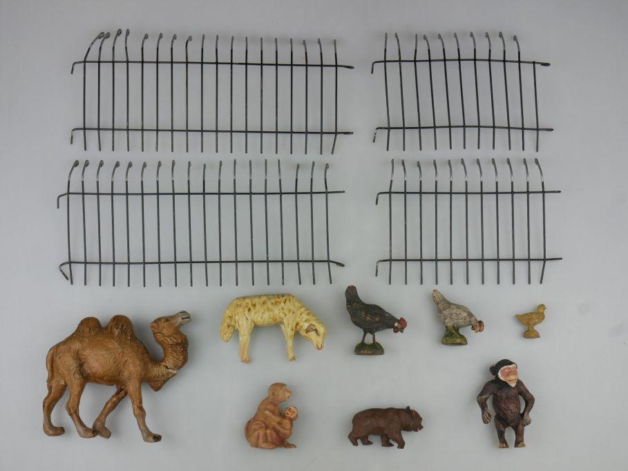 Elastolin Masse Zoo Figuren Tiere Gitter Kamel Affe Bär Huhn Schaf 117616
